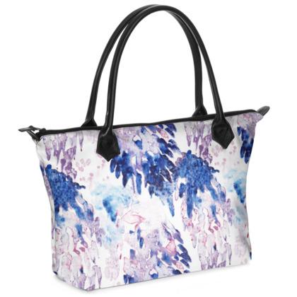 Abstract Print Zip Top Handbag