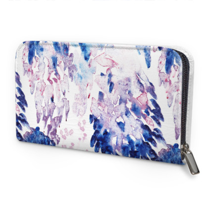 Painterly Print Leather Zip Purse