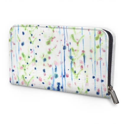 Abstract Print Leather Zip Purse