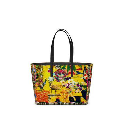 NEW!  SMALL DESIGNER Tote Bag ORCHID YELLOW SKULL aus ital. Nappa Leder im Birkinbag Style