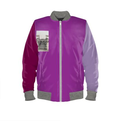 Pink Typewriter Ladies Bomber Jacket   XS - 4XL  Copyright 2019 Joanne Shaw.  All rights reserved.