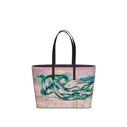 small DESIGNER RETRO Tote Bag aus ital. Nappa Leder im Birkinbag Style