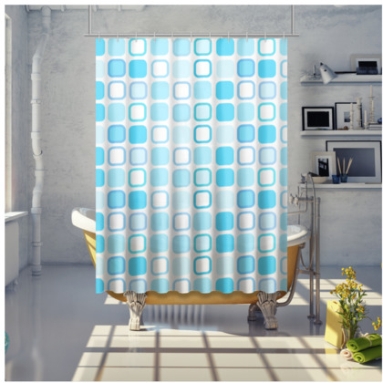 Retro Art Design Blue Shower Curtain