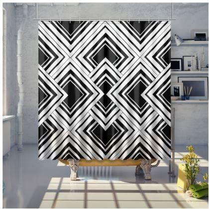 Shower Curtain Black And White Art Deco Design