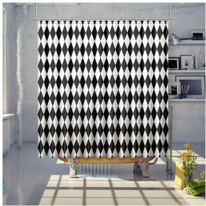 Shower Curtain Black And White Diamonds