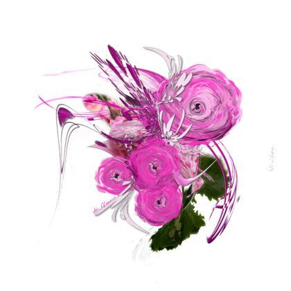Zip Top Handbag - Zip top Handväska - Pink summer fantasy white