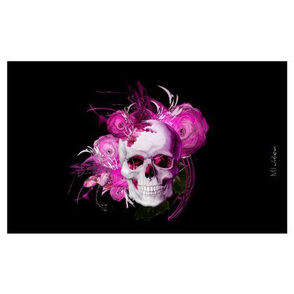 ZIP TOP HANDBAG - ZIP TOP HANDVÄSKA - 2 IN ONE - Pink fantasy flower skull black