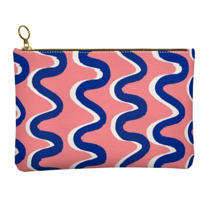 Hello There First Impressions Faux Leather Clutch Bag in Blue Wiggle