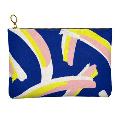 Hello There First Impressions Faux Leather Clutch Bag in Bold Strokes (Blue)