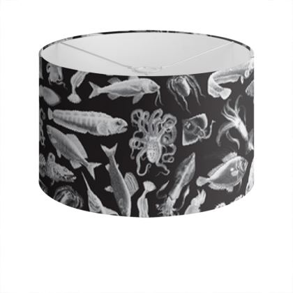 Drum Lamp Shade / Aquatic Sea Creatures