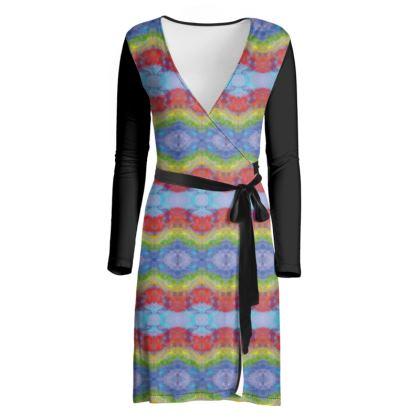 Rainbow Stripes Wrap Dress