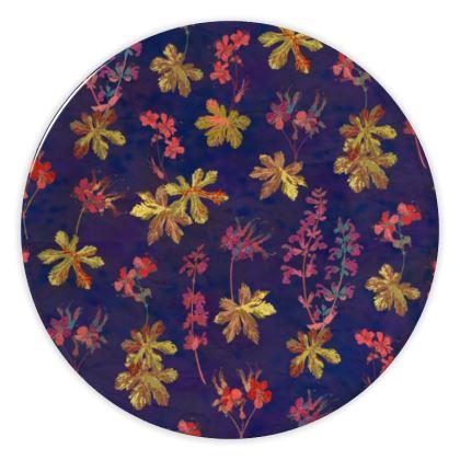 Blue Geraniums China Plate
