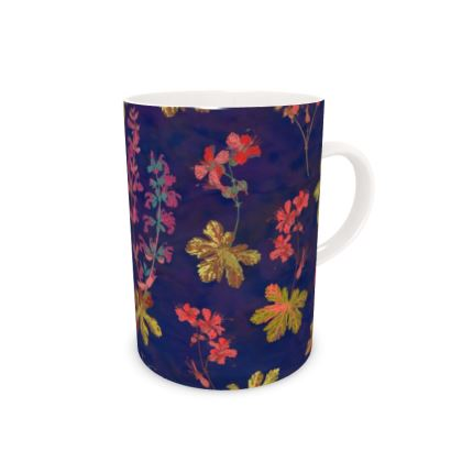 Blue Geraniums Bone China Mug