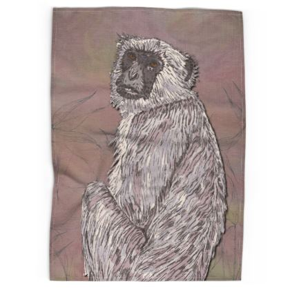 Gray Langur Monkey Tea Towel