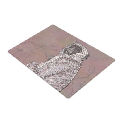 Gray Langur Monkey Glass Chopping Board