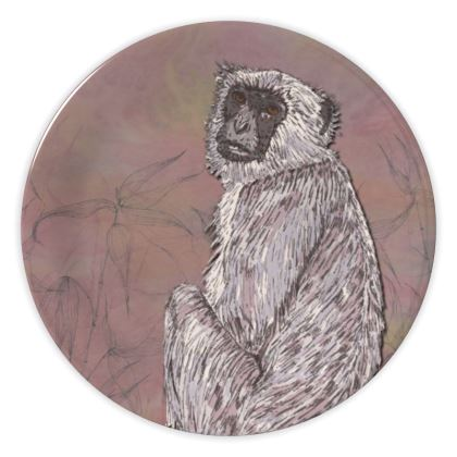 Gray Langur Monkey China Plate