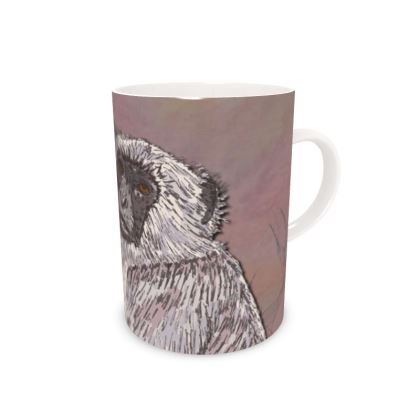 Gray Langur Monkey Bone China Mug