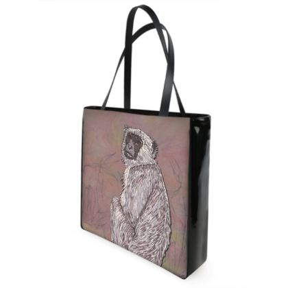 Gray Langur Monkey Shopper Bag