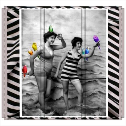 Bathing Beauties with Rainbow Budgies 3 Panel Folding Screen