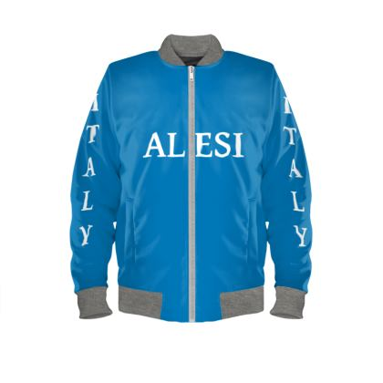 Alesi Custom Bomber Jacket- Blue/White/Gray