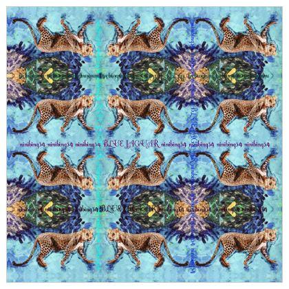 349,- NEW! Prächtiges Seidentuch #ninibing34 BLUE JAGUAR! Maxi Größe! 100 % Satin Seide 135 cm x 135 cm