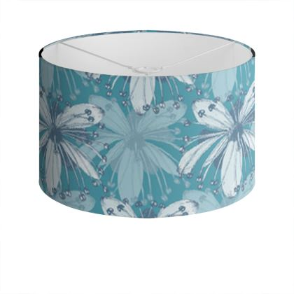 Drum Lamp Shade - Lime Flower