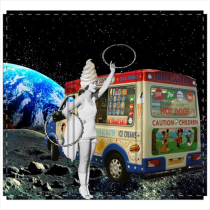 Miss Whippy Hooping in Space 3 Panel Folding Screen