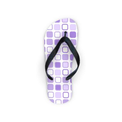 Retro Art Design Purple Flip Flops