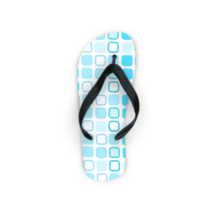 Retro Art Design Blue Flip Flops