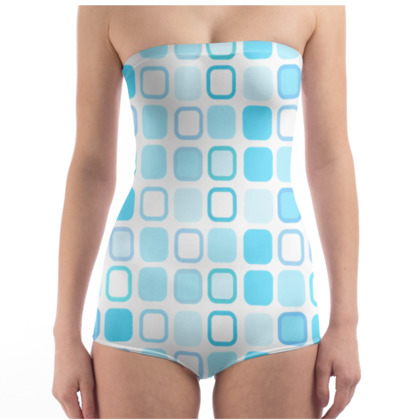 Retro Art Design Blue Swimsuit