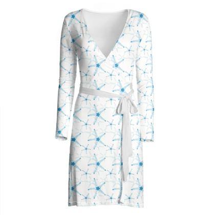 Sea Stars in Aqua Blue Collection Wrap Dress