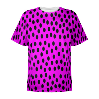 Black Polka Dot Design Cerise Pink All Over Print T Shirt