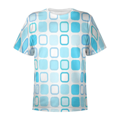 Retro Art Design Blue All Over Print T Shirt
