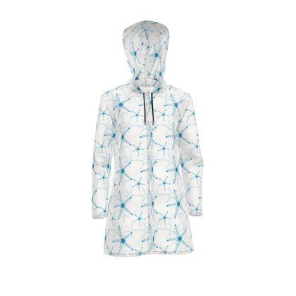 Sea Stars in Aqua Blue Collection Womens Hooded Rain Mac