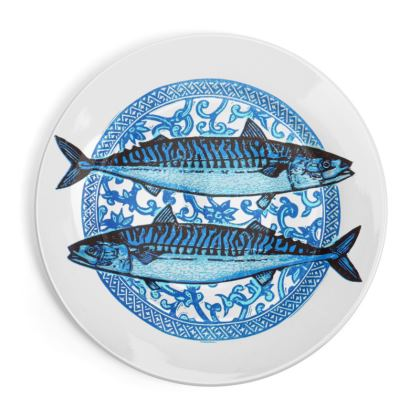 Blue Mackerel China Plate
