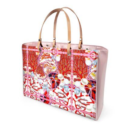 Handtasche im Pearls & Coral Design mit poppigem Lack in PINK