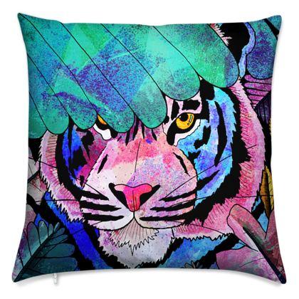 Tropical textured tiger cushion