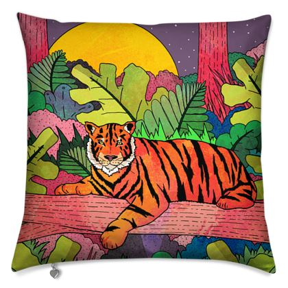 Spring jungle tiger cushion