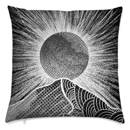 Sun burst mountain cushion