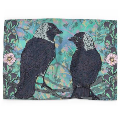 Jackdaws Tea Towel