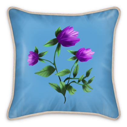 Purple Tulip Blue Silk Cushion