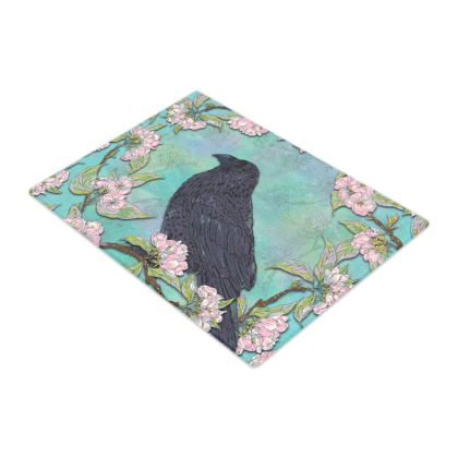 Raven and Apple Blossom Glass Chopping Board