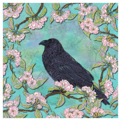 Raven and Apple Blossom Coasters