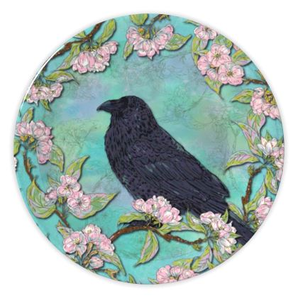 Raven and Apple Blossom China Plate