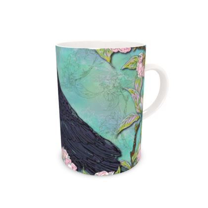 Raven and Apple Blossom Bone China Mug