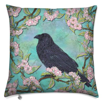 Raven and Apple Blossom Cushion
