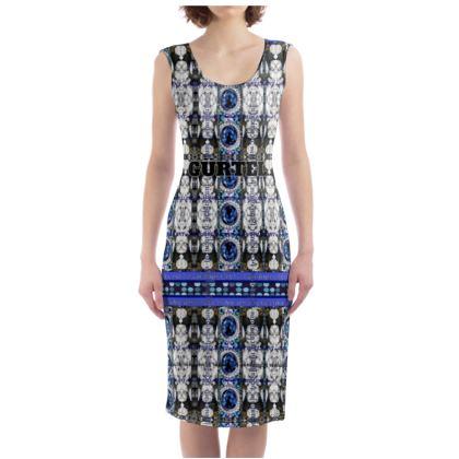 228,- Bodycon-Kleid ELEGANCE BLUE SAPHIRE size XL mit Gürtel Print #ninibing34