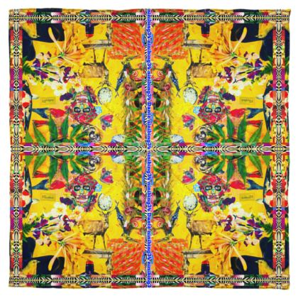 115 x 115 cm reine Seide yellow scull #ninibing34