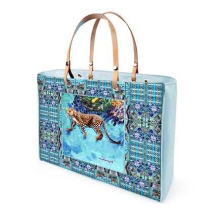 Handtasche/ Shopperbag BLUE JAGUAR, canvas und Leder #ninibing34