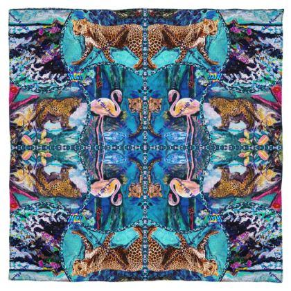 186,- Schal/Halstuch in 115 x 115 cm Paris Chiffon im #ninibing34  Blue Jaguar #ninibing34 DESIGN